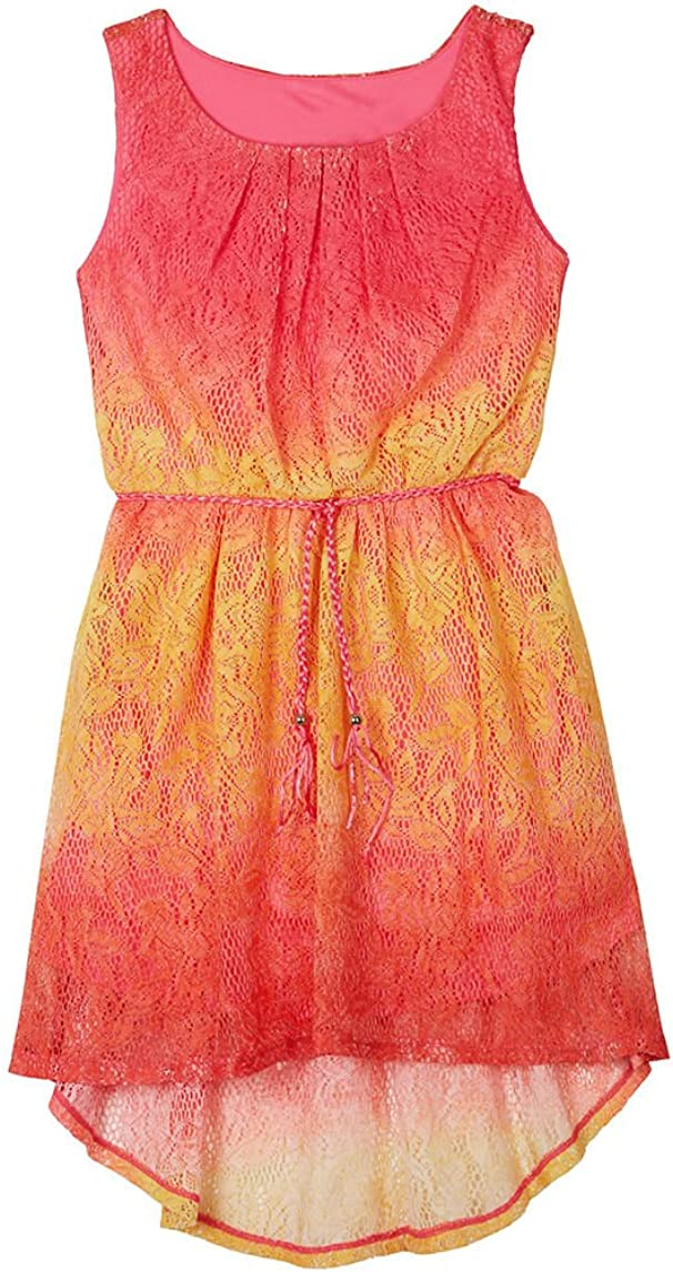 Amy Byer Girl's Fuchsia Ombre Crochet Dress
