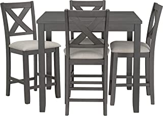 Ready To Live Sandpiper Counter Height Table and Chairs Set, Grey
