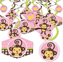 Big Dot of Happiness Pink Monkey Girl - Baby Shower or Birthday Party Hanging Decor - Party Decoration Swirls - Set of 40