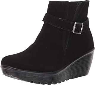 Women's Parallel-Buckle Strap Side Gore Zip Up Wedge Casual Comfort Ankle Boot Fashion