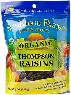 SunRidge Farms Raisins, Thompson Organic NonGMO Verified 8 Ounce Bag (Pack of 12)