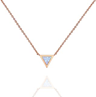 14K Gold Plated Round Created Opal Necklace | Opal Necklaces for Women