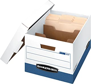 Bankers Box R-KIVE DIVIDERBOX Heavy-Duty Storage Boxes with Dividers, FastFold, Lift-Off Lid, Letter/Legal, Case of 12 (0083601)