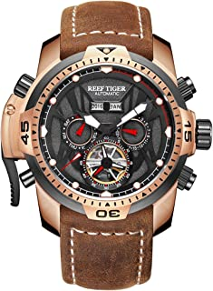 Sport Luminous Watches Rose Gold Leather Strap Analog Automatic Men's Watch RGA3532