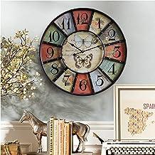 Wall Clock - Vintage Multicolor American Garden Round Iron Interior Decorative Wall Clock, Silent/exact Time, Diameter 59C...
