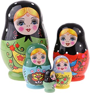 MagiDeal 5Pcs Wooden Russian Nesting Dolls Babushka Matryoshka Set Hand Painted Gift Decoration
