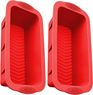 Silicone Loaf Pan for Baking Bread Toast Molds Value 2 Pcs Reusable Food Grade Bakeware Pans for Homemade Breads Cakes (2 ...