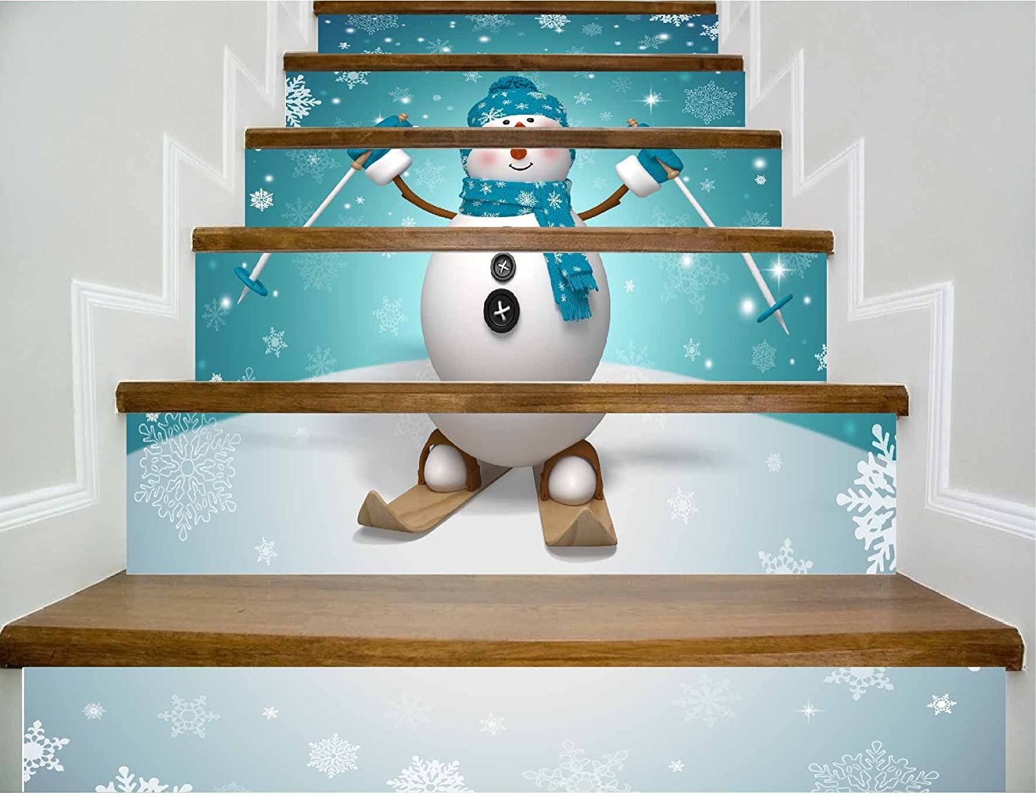Stairs selfAdhesive Wallpaper Christmas Home Snowman Decoration 3D Removable Sticker Modern Wallpaper Fashion Buy Three get one Free