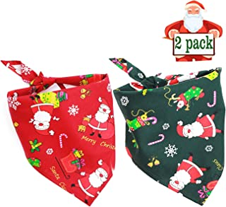 Malier 2 Pack Dog Bandana Christmas Pet Costume Stylish Christmas Santa Scarf Triangle Bibs Kerchief Set
