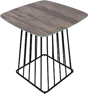 Moncot ET391-WD - Mesa auxiliar cuadrada con estructura de metal negro, mesa de café con vetas de cristal templado, para e...