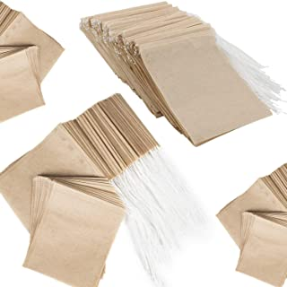 NEPAK 600 st engångs tefilterpåsar, naturlig massa material dragsko tätning tepåse tom för lösa te (5 x 7 cm)