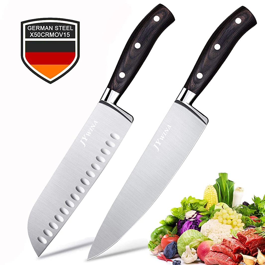 2-Piece Ultra Sharp Chef Knives, 8 inch Chef Knife & 7 inch Santoku Knife,Japanese Razor Sharp Blade Made of High Carbon Steel, Germany Stainless Steel, Ergonomic Handle for Vegetable, Fish and Meat