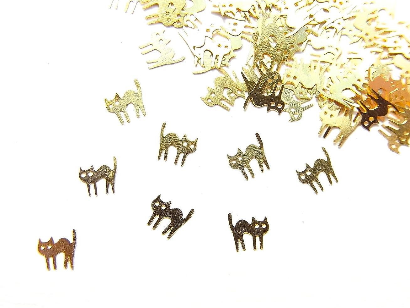 女王海賊安らぎ【jewel】ug23 薄型ゴールド メタルパーツ ネコ 猫B 10個入り ネイルアートパーツ レジンパーツ