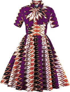 Womens Plus Size African Print Halloween Dress Short Sleeve Vintage Printed Swing Midi Dress