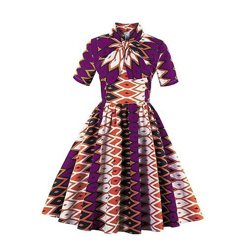 76b637df86983 Foshow Womens African Print Vintage Dress Plus Size Holiday Dashiki Midi  Dresses
