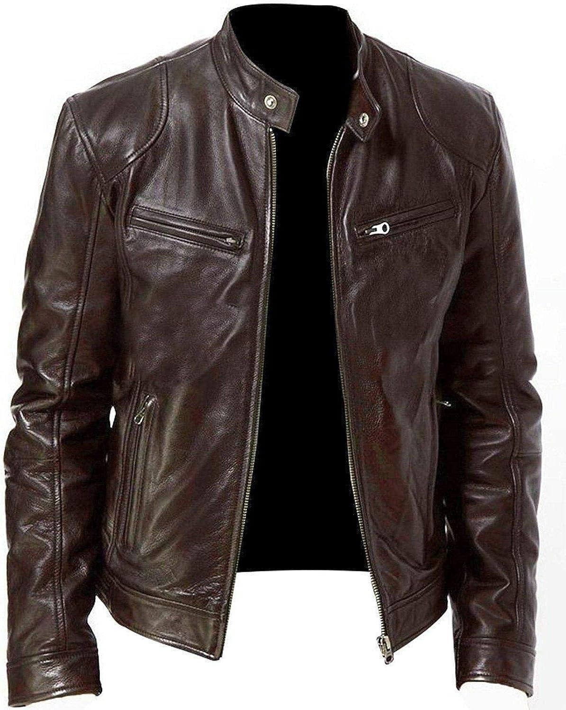 Men's Jacket Fashion PU Faux Leather Jacket Slim Stand Collar Motorcycle Windproof Lapel Rock Zip Jacket