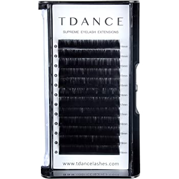 TDANCE Premium D Curl 0.18mm Thickness Semi Permanent Individual Eyelash Extensions Silk Classic Lashes Professional Salon Use Mixed 14-19mm Length In One Tray (D-0.18,14-19mm)