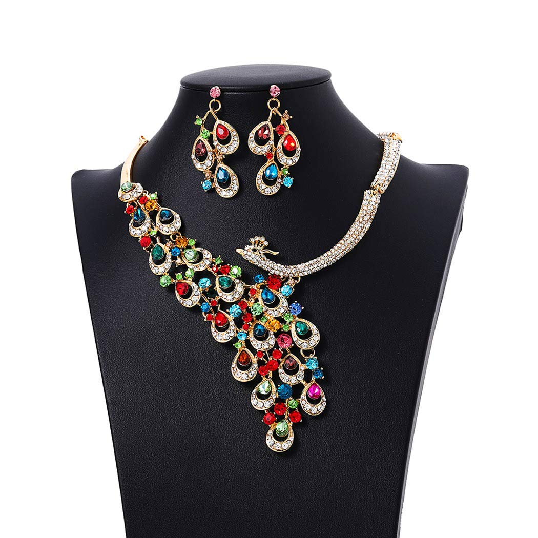 Campsis Gold Bride Wedding Statement Necklace Bridal Crystal Peacock Neckalce Earrings Jewelry Set for Women