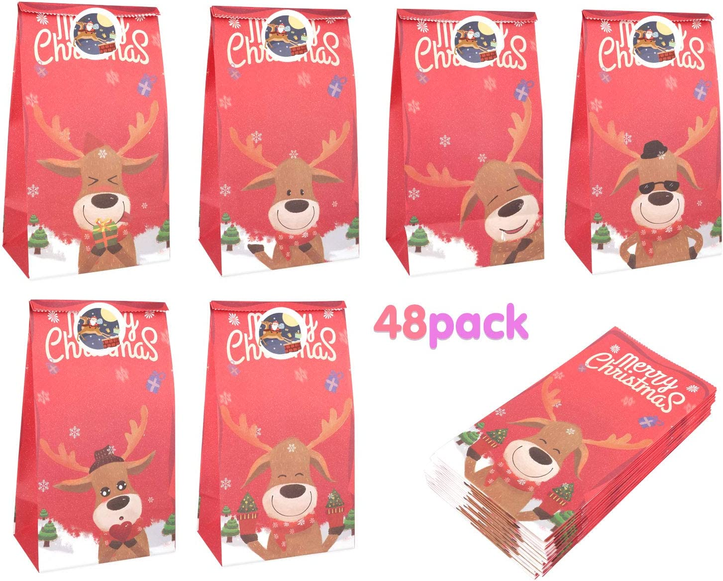 Zooawa [48 PACK] Christmas Treat Bags, Christmas Deer Craft Paper Gift Bags, Candy Treat Gift Bags for Xmas Party Favor Snacks Gift Packing Supplies - Red