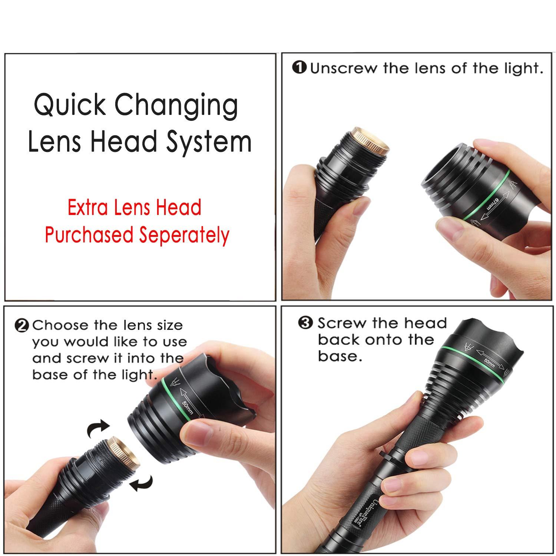 UniqueFire 75MM Convex Lens Adjustable Focus Head Caps for UF-1508 XML//XRE//IR 850nm//940nm LED Flashlight