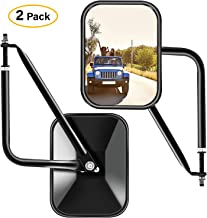 Zmoon Door Off Mirrors Square Adventure Side View Mirrors for Jeep Wrangler CJ YJ TJ JK JL & Unlimited,Textured Black, 2 Pack