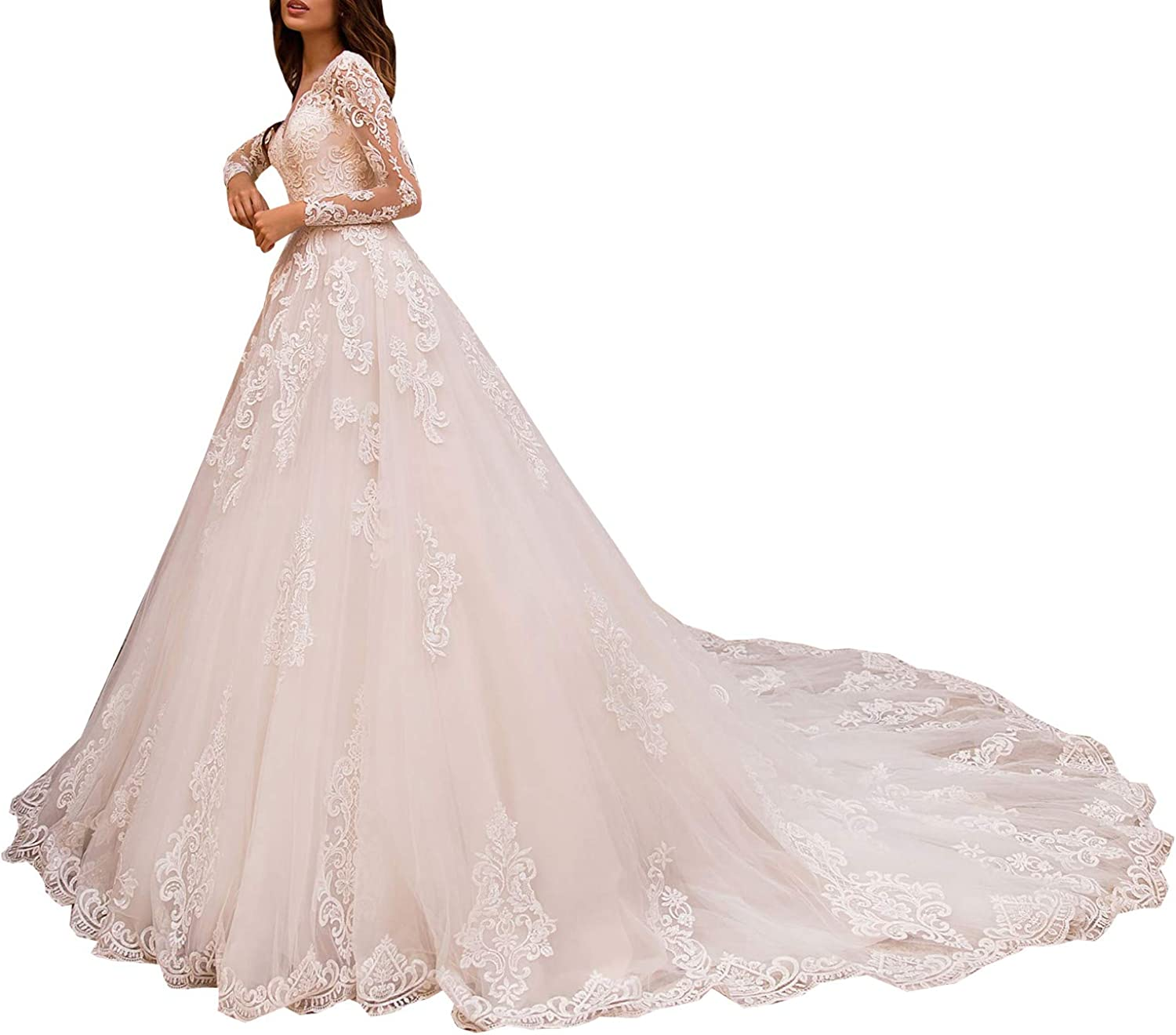 Melisa Women's Illusion Long Sleeve Lace Church Wedding Dresses for Bride with Train Bridal Ball Gown Plus Size
