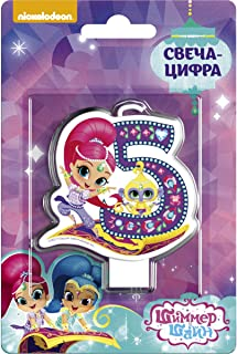 Shimmer and Shine Cupcake Topper Candle 5 Years Baking Dessert Decorations Happy Birthday Holiday Anniversary Jubilee Party Supply Must Have Accessories for Kids Baby Shower Celebration