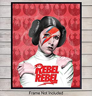 Princess Leia Rebel Pop Art Print - Contemporary Wall Art Poster - Unique Home Decor and Great Inexpensive Gift Men or Women and for Star Wars, Starwars Fans - 8x10 Photo Unframed