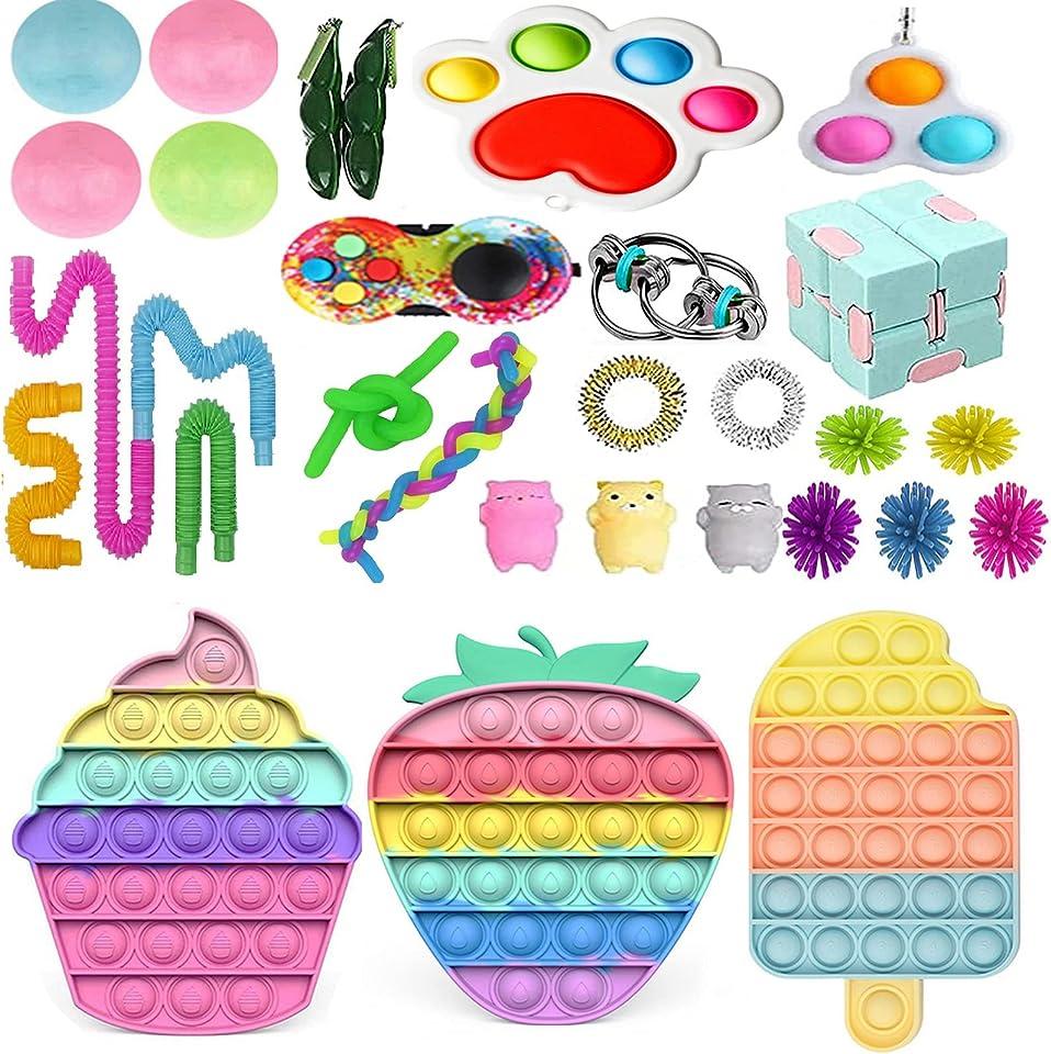 Pop Bubble Fidget Toy Set, Sensory Fidget Toy with Marble Mesh Pop Tubes Fidget Anti Stress Spielzeug für Kinder