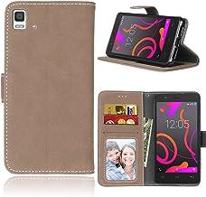 Funda BQ Aquaris E5 4G 5.0inch,Bookstyle 3 Card Slot PU Cuero Cartera para TPU Silicone Case Cover(Beige)