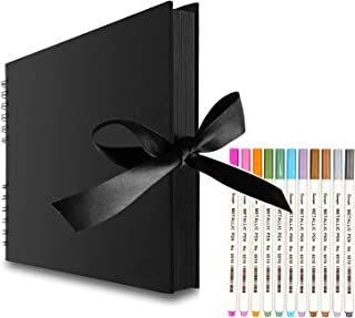 Scrapbook Photo Album with Black Page 12x9,Black Cover (40 Sheets, 80 pages) With 12 Pcs Markers Paints Pens