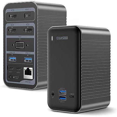 Docking Station,QGeeM 4K Quadruple Display USB C Docking Station for USB-C Laptops Triple Display Thunderbolt 3 Dock Station Compatible with MacBook and Windows,Chrome OS,Mac OS
