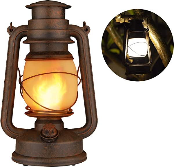 Flame Light Vintage Lantern Realistic Flicker Flame Camping Lamp Battery Operated LED Night Lights Landscape Decorative For Garden Patio Deck Yard Path Copper