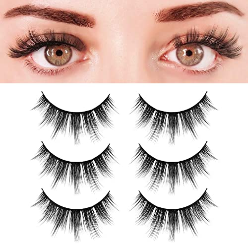 535d2496a8e BEPHOLAN 3 Pairs False Eyelashes Synthetic Fiber Material| 3D Faux Mink  Lashes| Natural Round