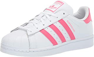 adidas Originals Unisex Superstar Running Shoe White/Real Pink/Real Pink, 4.5 Medium US Little Kid