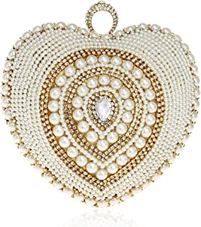 Rhinestone Heart-Shaped Evening Dress Handbags Wild Crystal Pearl Wedding Bride Dress Clutch Bag Chain Shoulder Diagonal Handbag Size: 18 * 9 * 20cm Fashion (Color : Gold)