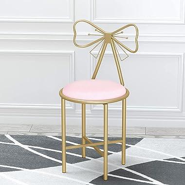 FATIVO Chaise Coiffeuse Lot de 2, Fauteuil Noeud Papillon en Fer et Velours 29x29x80cm, Chaise Lounge Moderne, Idéal pour Sal