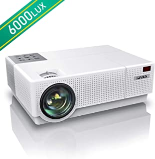 YABER Native 1920 x 1080P Projector 6000 Lumens Full HD Video Projector, ±45° 4D Keystone Correction,LCD LED Home & Outdoor Projector Compatible with Smartphone,PC,TV Box,PS4