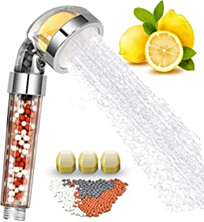 Vitamin C Filter Shower Head with 3 Replacement Balms - Handheld High Pressure Shower Head Remove Chlorine for Hard Water Softener with Citrus Smell for Dry Skin and Hair Loss