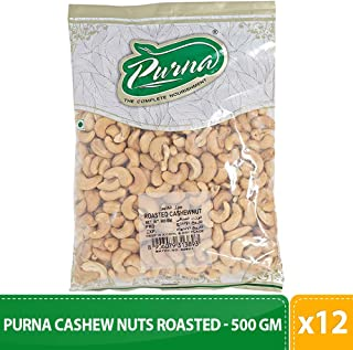 Purna Cashew Nuts Roasted - 500 gm(Pack of 12)