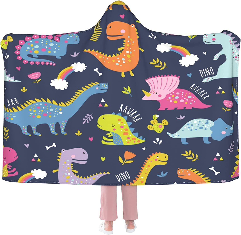 Overseas parallel import regular item Cute Dinosaur Wearable Over item handling Blanket S Flannel Hooded