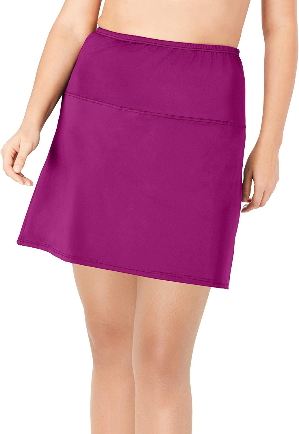 Swimsuits For All Women's Plus Size High-Waisted Swim Skirt with Built-in Brief Swimsuit Bottoms
