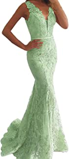 OYISHA Women's Lace Mermaid Prom Dresses Long V Neck Evening Party Ball Gowns OYWP18