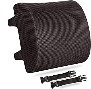 Pure Memory Foam Back Cushion Orthopedic Design for Lower Back Pain Relief with 2 Adjustable Straps For Car or Office Chair