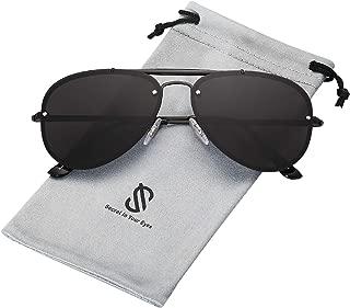 SOJOS Rimless Aviator Sunglasses for Men and Women Metal Frame Mirrored Lens TRENDALERT