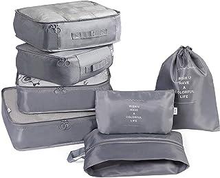 Packing Cubes Set, 7Pcs Travel Luggage Packing Organizers with Shoe Bag, Waterproof Mesh Travel Cubes - Grey