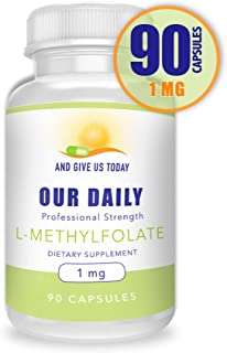 Our Daily Vites L-Methylfolate 1mg / 1000 mcg Maximum Strength Active Folate, 5-MTHF, Filler Free, Gluten Free, Non-GMO, Vegetarian Capsules 90