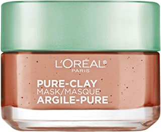 Clay Facial Mask, L'Oreal Paris Skincare Pure Clay Face Mask with Red Algae for Clogged Pores to Exfoliate And Refine Pores, Charcoal Face Wash, Exfoliating Cleanser, at home face mask, 1.7 oz.