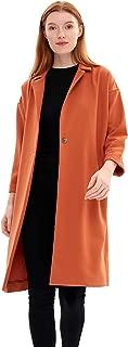 Charis Allure Women's Casual Long Sleeve Lapel Trench Coat Jacket, Orange
