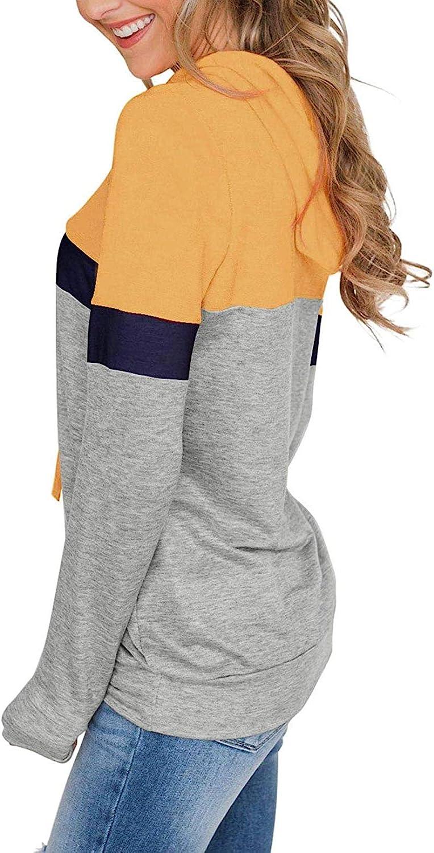 Nekosi Damen l/ässig Langarm Kordelzug Pullover Sweatshirt Farbe Block Hoodie Tops mit K/änguru-Vordertasche